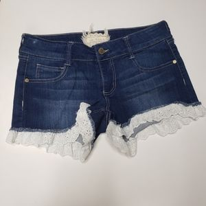 Altar'd State Lace Trim Jean Shorts